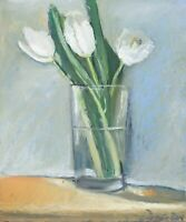 White Tulips Flowers in glass Oil painting 8x9.6 in 20x24cm Still Life Realism