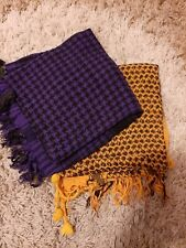 Brand New Set Of 2 Checked Square Scarves mustard/black purple/black Checked