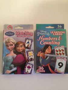 2 box Disney Princess learning cards numbers counting colors shapes education
