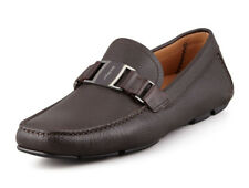 100% authentic Salvatore Ferragamo Pebbled Leather Drivers shoes sz 12D