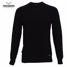 Mens Jumper Thin Knit Sweater Contrast Suede Shoulder Patches 100% Cotton NEW