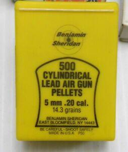Benjamin Sheridan Box of 5MM 20 Cal Cylindrical Air Gun Pellets Full/Nearly Full