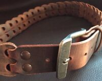 Men's Distressed Folded Leather Belt-Flexible-Amish Made-Heavy Duty-Worn Look