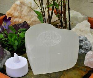 Selenite Crystal Candle Heart Tea-Light Holder, Angel Gift Love Light 10x4cm UK