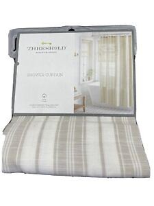 "NWT THRESHOLD SHOWER CURTAIN TAN LINEN STRIPE 100% COTTON 72"" x 72"" STANDARD TOP"