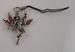 Fairy Cell phone charm or purse charm mystical creature red crystals