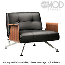 Clubber Chair with Armrests Danish Modern Club Chair Black Leather Textile