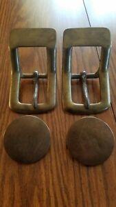 4 vintage brass horse tack hardware harness bridle saddle parts ?