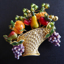 Enameled Fruit Vegetable Basket Pin Brooch Moveable Wires Glass Beads Gold Vtg