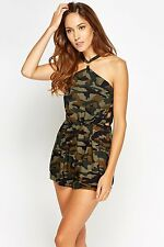 *IN VOUGE PARIS* CAMOUFLAGE CUT OUT SIDE TRENDY BLOGGERS PLAYSUIT UK 8 BNWT