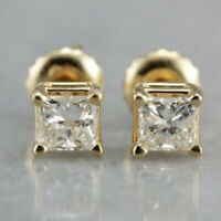 0.60 Ct Princess Cut Diamond 14k Yellow Gold Over Solitaire Square Stud Earrings