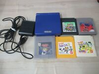 L246 Nintendo Gameboy Advance SP console Azurite Blue & 5 game Adapter Japan GBA