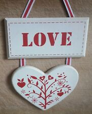 Love Heart Plaque Cream Red Ribboned Folkloric Wall hanging Decorative Romantic