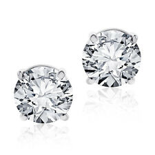 2.00 CT ROUND BRILLIANT CUT SCREWBACK BASKET STUD EARRINGS SOLID 14K WHITE GOLD