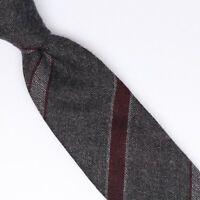 John G Hardy Mens Wool Necktie Gray Burgundy Stripe Weave Soft Woven Tie Italy