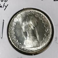 1966 Italy 500 Lire Silver Coin BU+ Blast White Condition