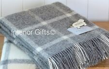 Pure New Wool Throw Blanket NATURAL COLLECTION BRONTE GREY Windowpane Check Gift