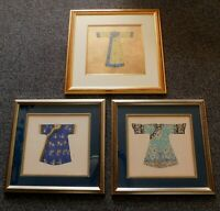 Vintage Chinese Cheongsam Costume Painting ART Picture Set of 3 Signed Framed