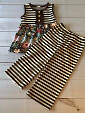 Girls Chocolate Stripe Cropped Pants + Floral Ruffled Swing Top Set, NEW! 4T