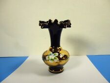 VINTAGE BLACK & GOLD BOHEMIAN RUFFLE TOP ART GLASS MINI VASE HANDPAINTED FLOWERS