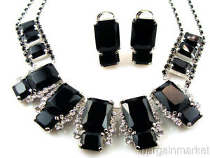 Chunky Statement Black & Crystal Necklace & Clip On Earrings