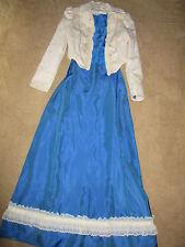 1900s VICTORIAN Edwardian Titanic Music Man cream jacket/blue skirt costume 8