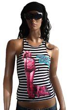 AMPLIFIED Hot BLONDIE 70'er Rock Star Ikone Stripes Designer Tank Top Shirt S 36