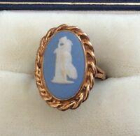 Beautiful Ladies Full Hallmarked Vintage 9ct Gold Large Wedgwood Ring - L 1/2
