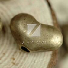 25pcs Metal Loose Beads Antique Brass for Jewellery Making Heart 12x7x4.5mm