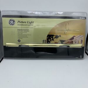 """GE 15932 Incandescent Picture Light Kit, Sleek Low Profile 16"""" Brass Finish New"""