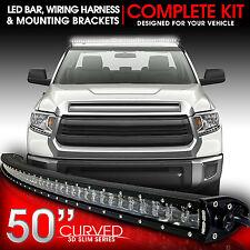 "3D LED Light Bar Kit 50"" Inch 288W Bracket & Wiring Switch for Tundra 2007-2015"
