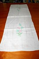 Vintage Floral Hand Embroidered Pure Linen Table Runner Dresser Scarf 14 X 40