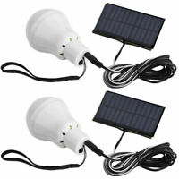 2SET Portable Bulb Outdoor Indoor Solar Powered Panel LED Lighting System Lights