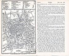 Gotha 1888 kl. orig. Stadtplan + frz. Reisef. (2 S) château de Friedenstein parc