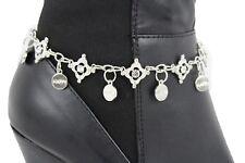 Bling Beads Anklet Happy Charm Rhinestone Women Boot Bracelet Silver Metal Chain