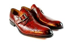IVAN TROY Red Crocodile Handmade Monk Strap Italian Leather Dress Shoes