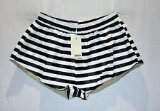 into Brand Women's Black White Striped Faux Leather Shorts Size 12 BNWT #TO78