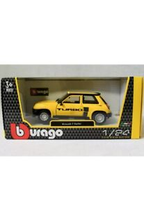 Bburago Renault 5 Turbo Yellow 1:24 Scale diecast Model Car New In Box Free POST