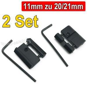 2 Set Schienen Adapter Prismenschiene 11mm auf 20/21mm Weaver Picatinny Schiene