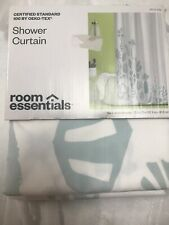 room essentials Shower Curtain Blue And White 72x72 New