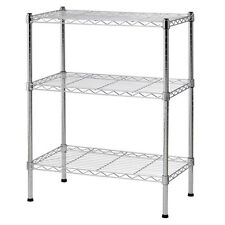 "32"" 3 Tier Wire Shelving Rack Household Storage Adjustable Metal Shelf Organizer"