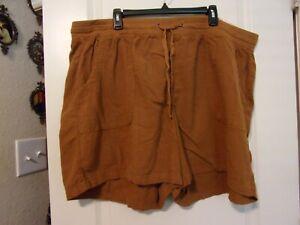 NWT EVRI Plus 24W Cinnamon Brown Utility Shorts Drawstring Elastic Mid Rise