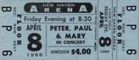 PETER, PAUL & MARY 1966 TOUR UNUSED NEW HAVEN ARENA CONCERT TICKET / NMT 2 MINT