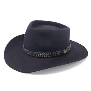Akubra Australian Snowy River Black Pure Fur Felt Hat Size 60
