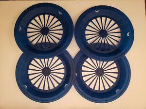 "PAPER PLATE HOLDERS 10"" PLASTIC BLUE 4 PIECES"