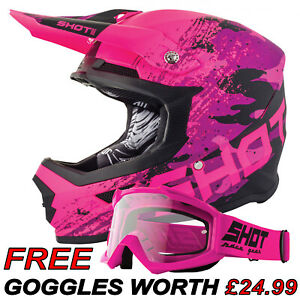 KIDS MOTOCROSS HELMET SHOT COUNTER NEON PINK MX YOUTH CHILDS HELMET FREE GOGGLES