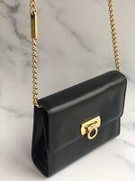 FERRAGAMO Bag Salvatore Ferragamo Vintage Black Leather Shoulder Bag Gold Chain