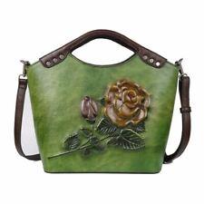 Retro Women Genuine Cow Leather Messenger Shoulder Bag Embossed Handbag Green