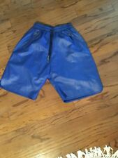 Dnine Reserve Royal Blue Lambskin Pu Leather Baller Shorts Nwt Large