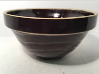 "Vintage Stoneware Crock Bowl, Dark Brown Glazed, Primitive 9 1/4"" Across"